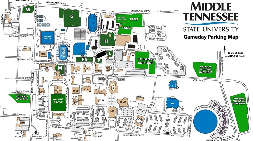 tennessee state university campus map Parking Information For Mt Byu Middle Tennessee State University tennessee state university campus map
