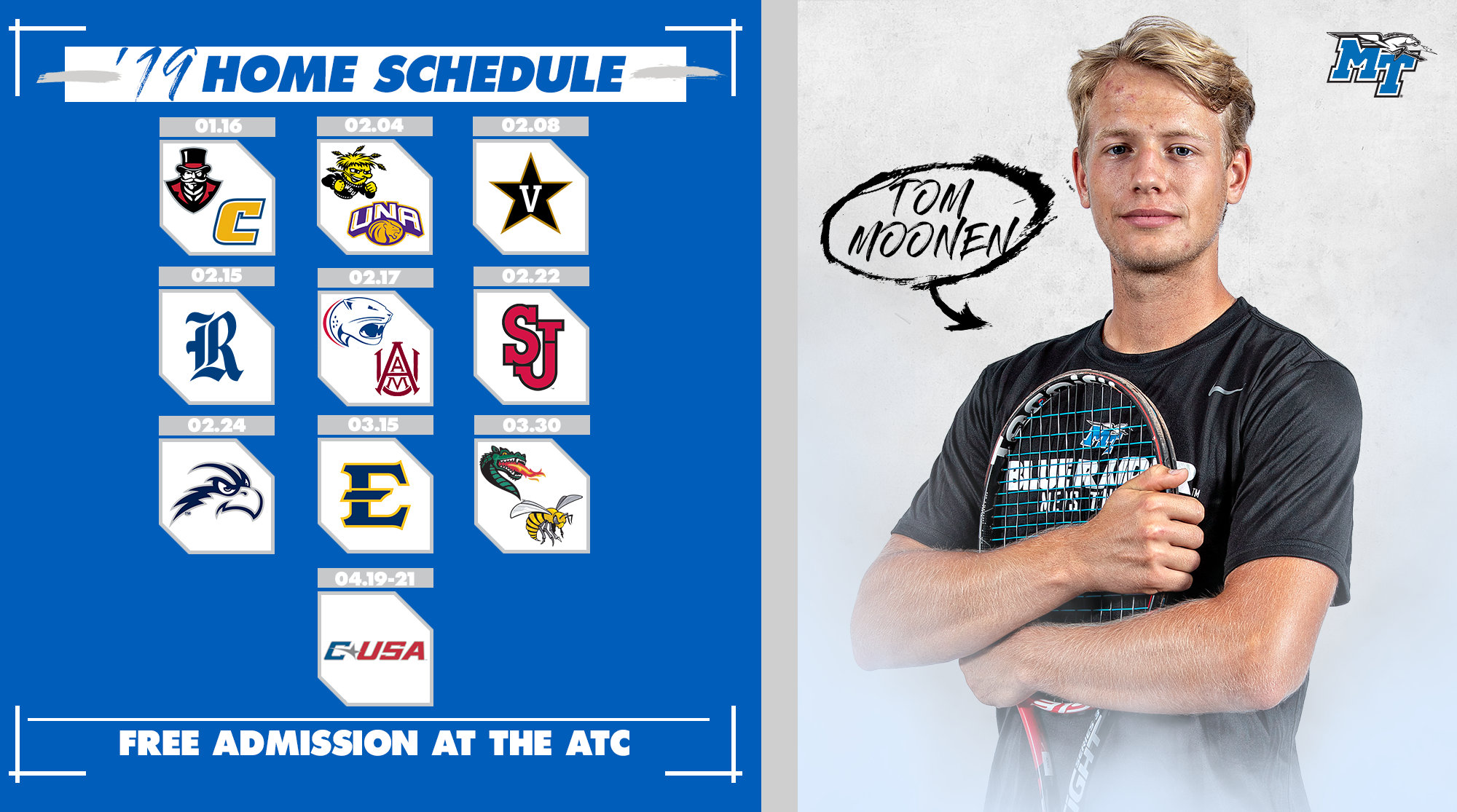 Mtsu Spring 2020 Schedule.Men S Tennis Announces Spring Slate Middle Tennessee State