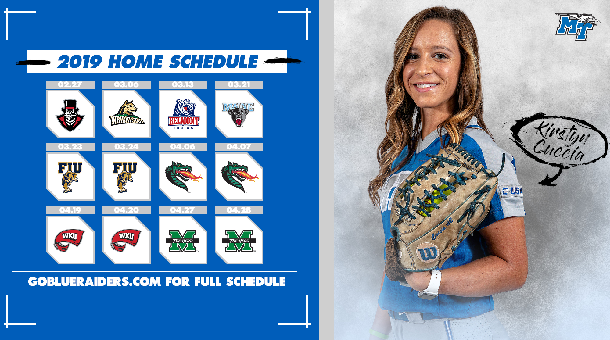 Raider Softball Releases 2019 Schedule - Middle Tennessee