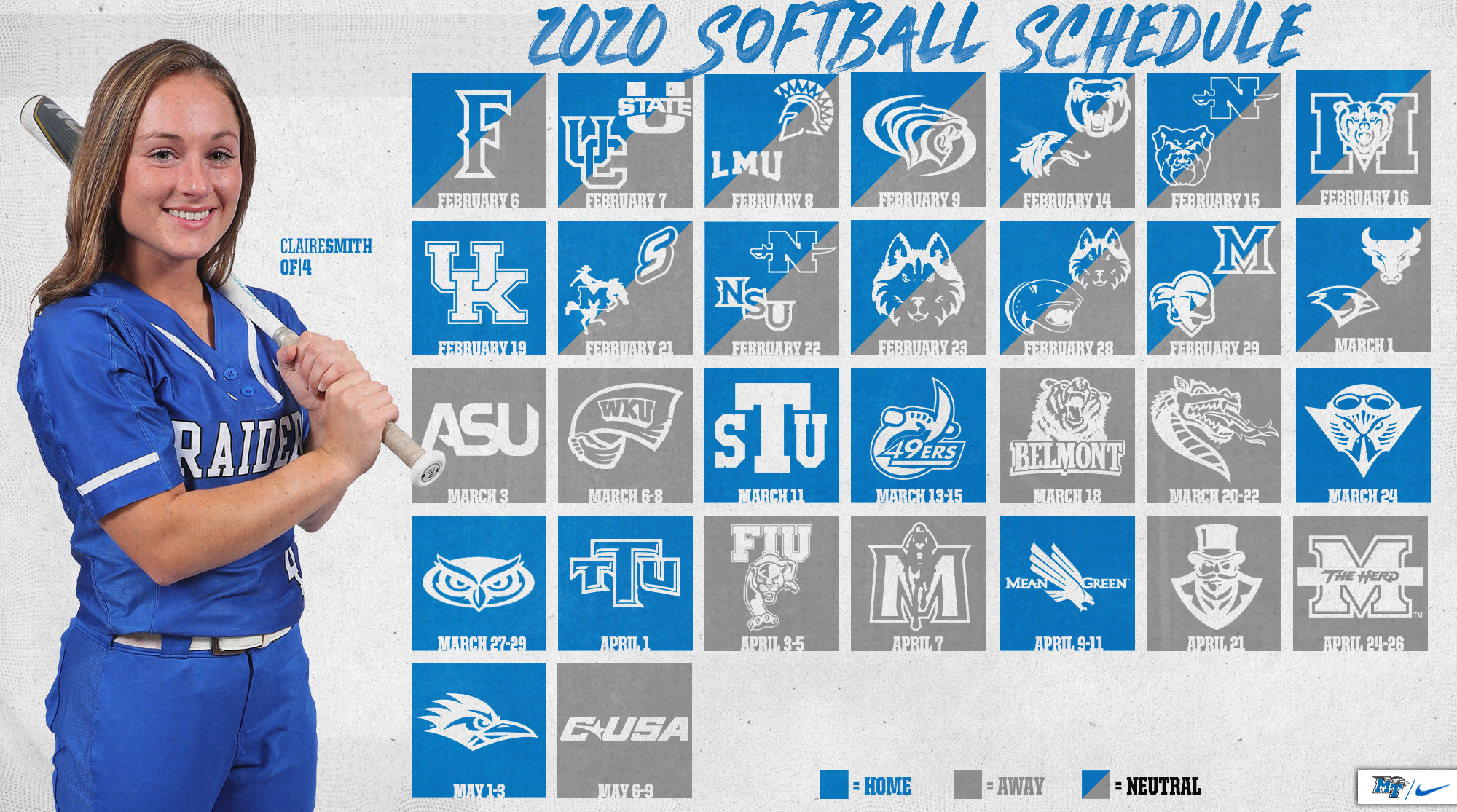 Mtsu Spring 2020 Schedule.Breeden Mt Softball Announce 2020 Slate Middle Tennessee