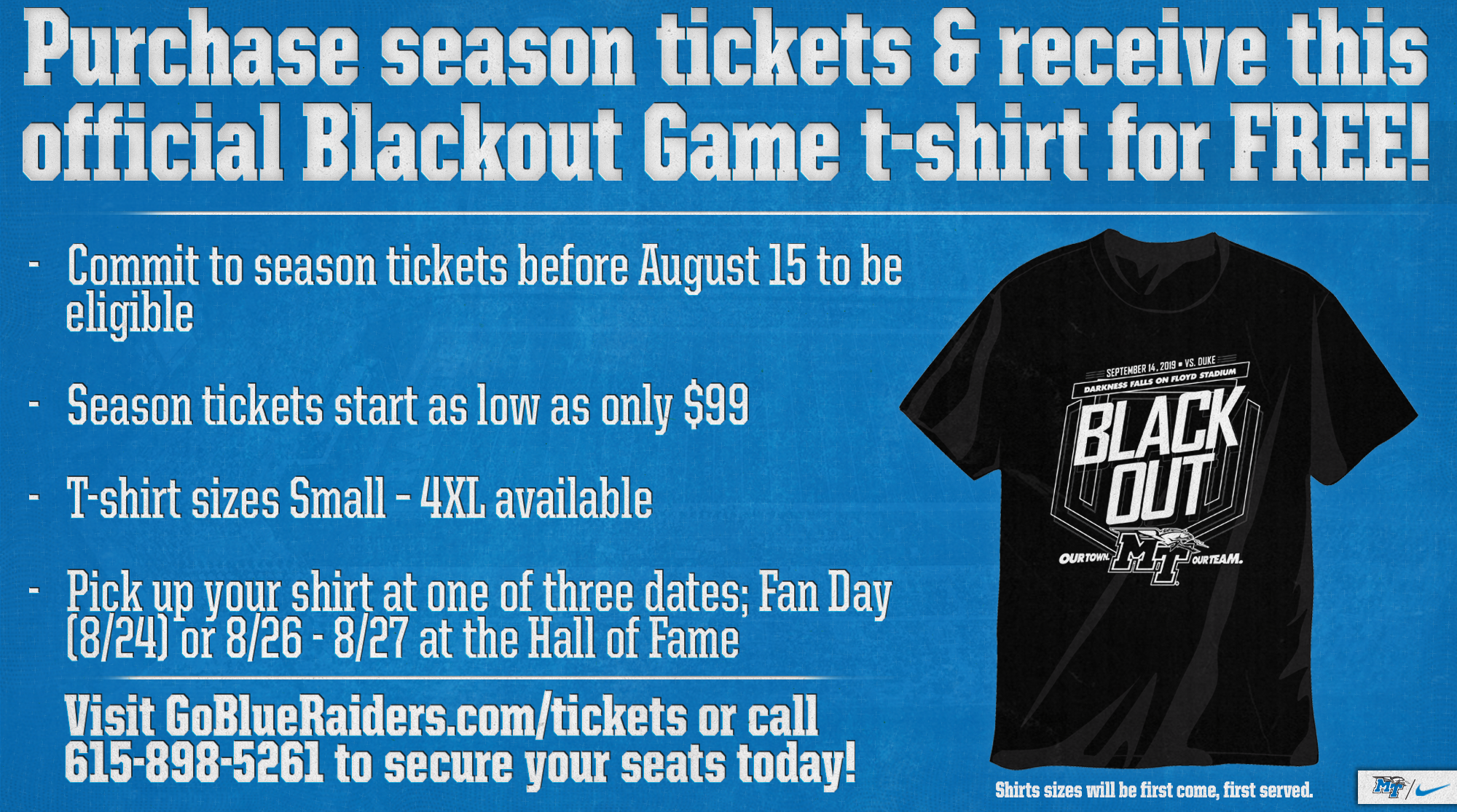 Blackout T-Shirts for Season Ticket Holders - Middle